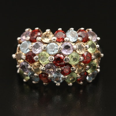 Sterling Gemstone Ring Including Garnet, Amethyst and Peridot