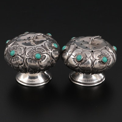 Mexican Sterling Silver and Turquoise Shakers, Mid-20th Century