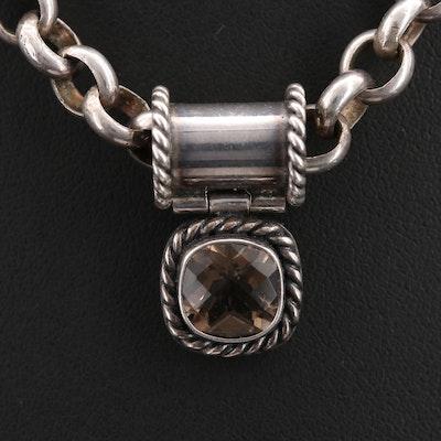Sterling Smoky Quartz Pendant Necklace