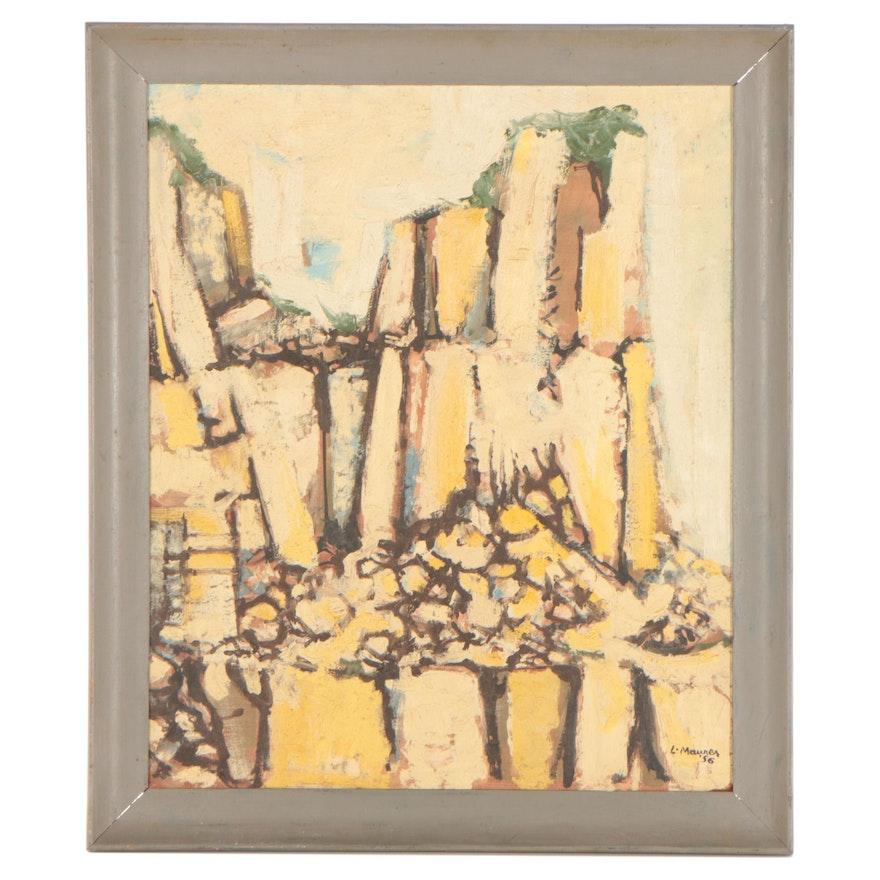 "Leonard Maurer Abstract Oil Painting ""Bermuda Quarry # 1,"" 1956"