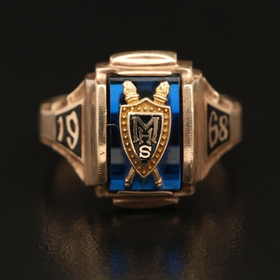 1968 10K Spinel and Enamel MHS Class Ring