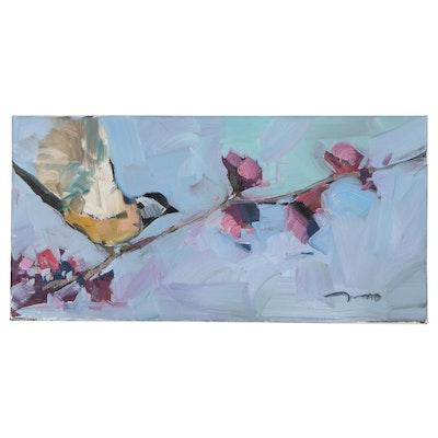"Jose Trujillo Oil Painting ""Sakura Blossom Tree,"" 2021"