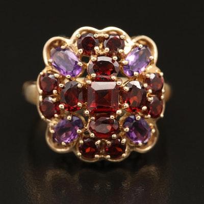 14K Garnet and Amethyst Ring