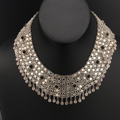 Sterling Black Onyx Collar Necklace with Wirework Fringe