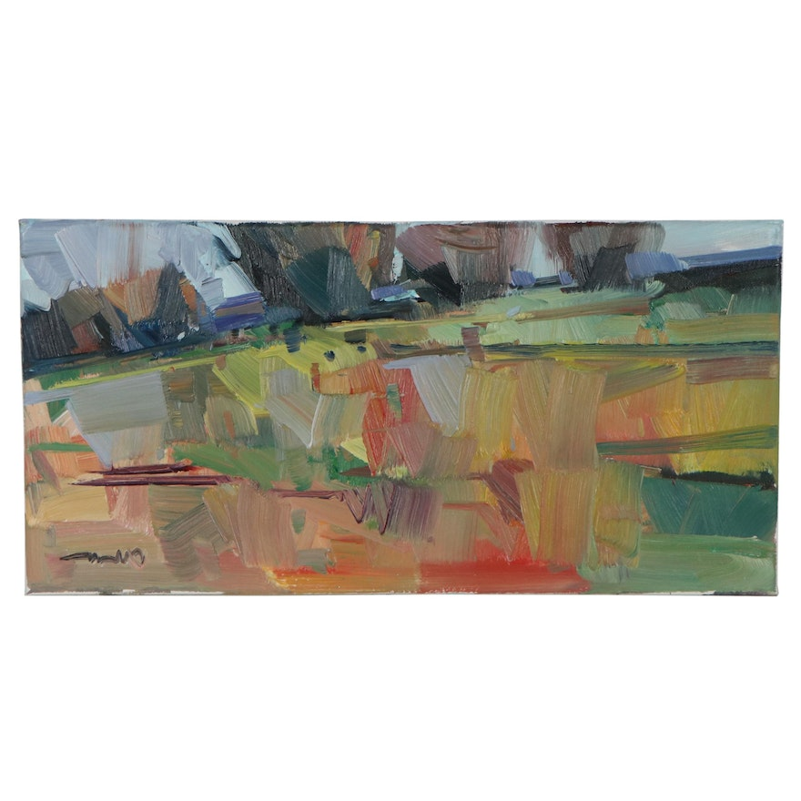 """Jose Trujillo Abstract Landscape Oil Painting """"Rolling Hills,"""" 2021"""