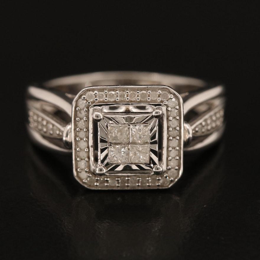 Sterling Silver Diamond Ring with Princess Cut Diamonds