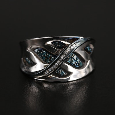 Sterling Diamond Cut-Out Saddle Ring