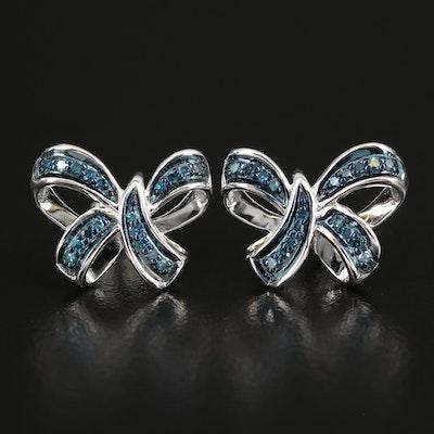 Sterling Diamond Bow Earrings