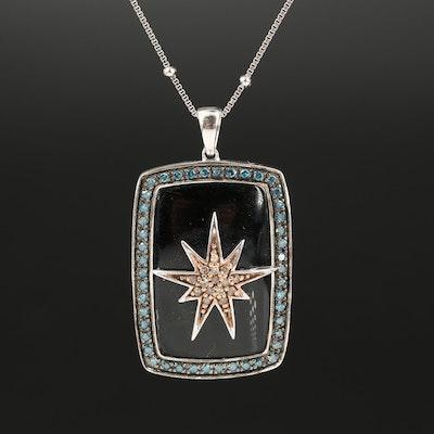 Sterling Black Onyx and Diamond Starburst Station Bead Pendant Necklace