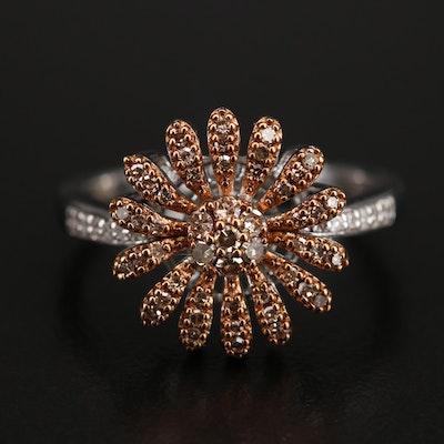 Sterling Diamond Flower Ring