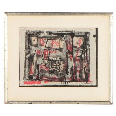 Leonard Maurer Abstract Watercolor and Ink Painting, 1960