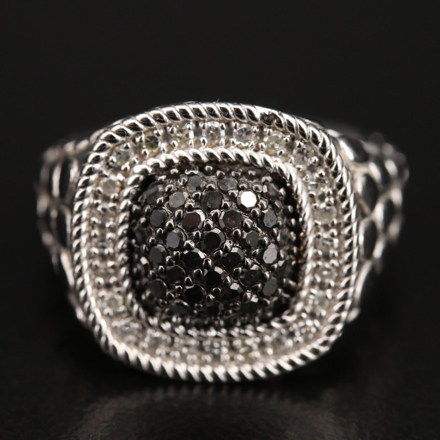 Sterling Pavé Diamond Ring with Textured Shoulders