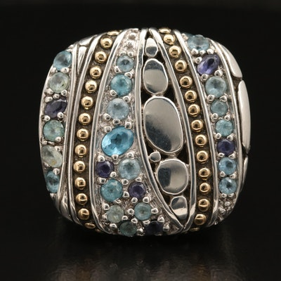 John Hardy Sterling Silver Topaz and Tanzanite Ring with 18K Granulation Accent