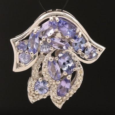 Sterling Tanzanite and Diamond Pendant