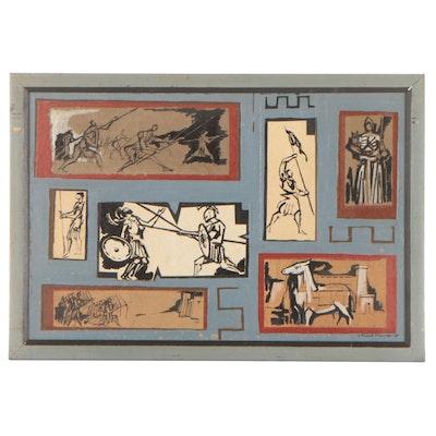 """Leonard Maurer Mixed Media Painting """"Trojan Anthology,"""" 1955"""