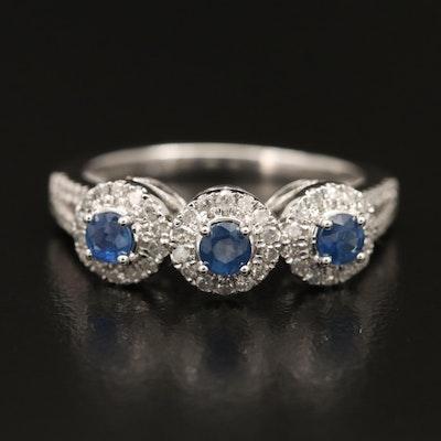 14K Sapphire and Diamond Triple Halo Ring