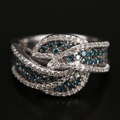 Sterling Diamond Knot Ring