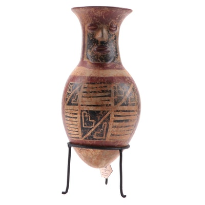 Pre-Columbian Style Museum Reproduction Pottery Vessel with Stand