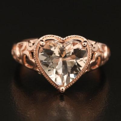 14K Rose Gold Morganite Heart Ring
