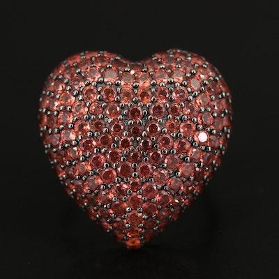 Sterling Pavé Garnet Heart Ring