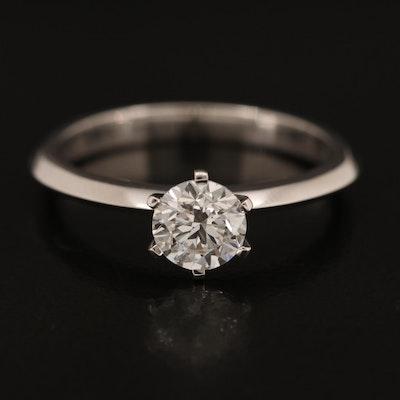 18K 0.69 CT Diamond Knife Edge Ring