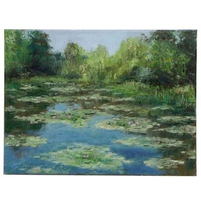 "Garncarek Aleksander Landscape Oil Painting ""Na Stawie,"" 2021"