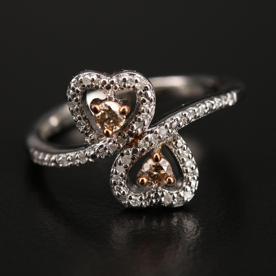Sterling Diamond Double Heart Bypass Ring