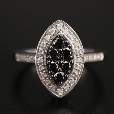 Sterling Diamond Navette Ring