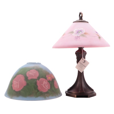 Hand-Painted and Other Reverse Painted Glass Shades with Cast Metal Base