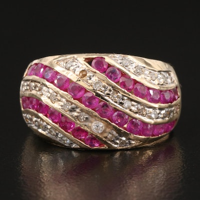 10K Ruby and Diamond Tapered Ring