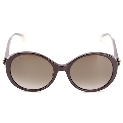 Gucci GG0370SK Bee Round Sunglasses in Brown Ombré with Case