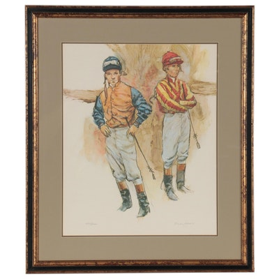 "Henry Koehler Offset Lithograph ""Two Jockeys,"" 1972"