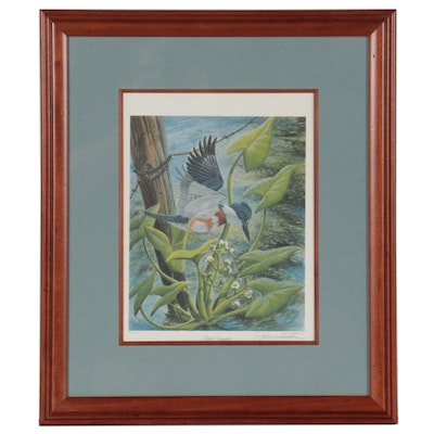 """John. A Ruthven Offset Lithograph """"Belted Kingfisher"""""""