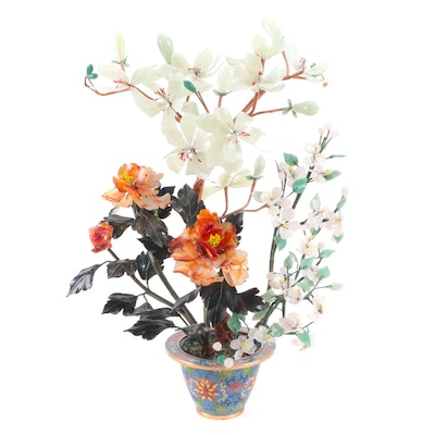 Chinese Serpentine, Agate and Rose Quartz Floral Display with Cloisonné Base