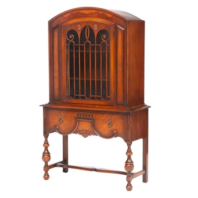 Jacobean Style Walnut and White Ash Burl China Cabinet, Early 20th Century
