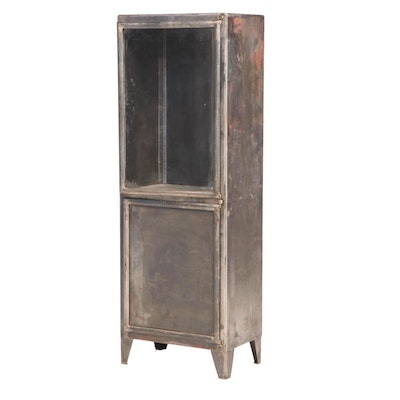 Industrial Style Patinated Metal Display Cabinet