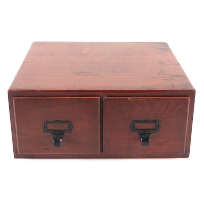 American Oak Two-Drawer Card File, Early 20th Century