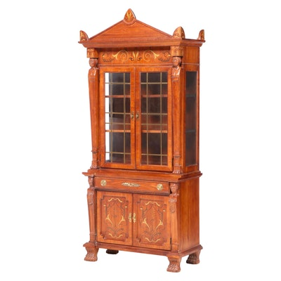 Pulaski Furniture Corp. Empire Style Stenciled Oak Secretary Bookcase