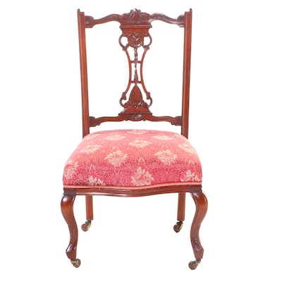 Late Victorian Carved Walnut Parlor Chair, circa 1900