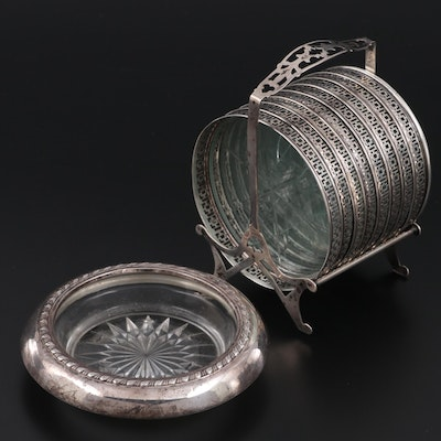 Webster Co. Sterling Silver and Glass Coasters with Other Coaster