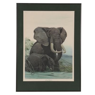"""John Ruthven Offset Lithograph """"African Elephants"""""""
