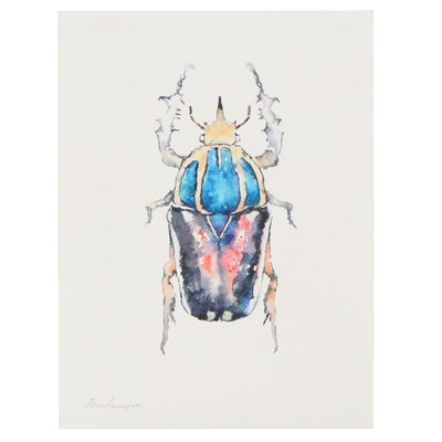 "Artyom Abrahamyan Watercolor Painting ""Beetles,"" 21st Century"
