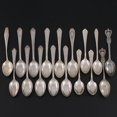 """Towle """"Old Colonial"""" Sterling Silver Spoons with Other American Sterling Spoons"""