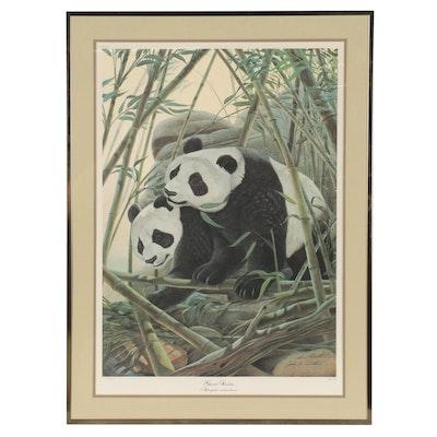 "John A. Ruthven Offset Lithograph ""Giant Pandas"""