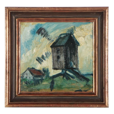 Modernist Style Landscape Oil Painting, Mid-20th Century