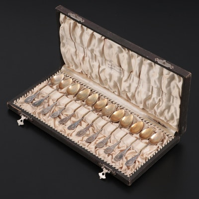 Dutch J.M. van Kempen & Zonen Gold Washed 835 Silver Demitasse Spoons