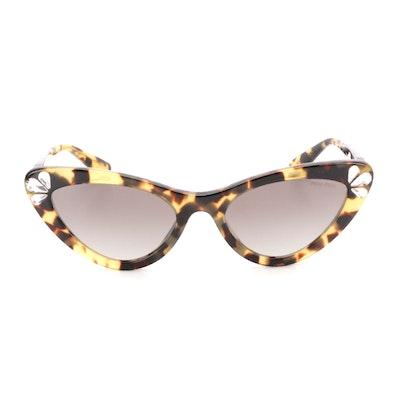 Miu Miu SMU01V Rhinestone Havana Cat Eye Sunglasses with Case and Box