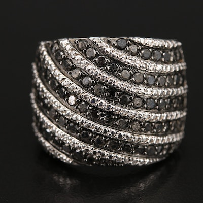 Sterling 1.50 CTW Diamond Fluted Ring