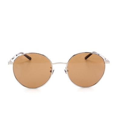 Gucci GG0944SA Round Sunglasses in Silver Tone Metal with Case