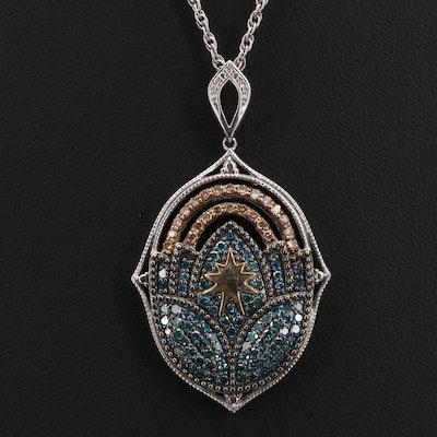 Sterling 1.01 CTW Diamond Arabesque Pendant Necklace